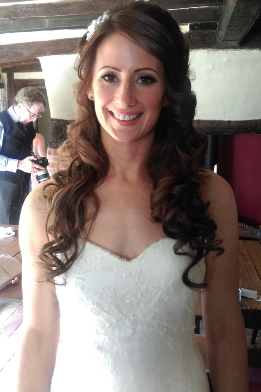 Photo of brides wedding hair down, by Karen's Beautiful Brides, Suffolk wedding hairdresser