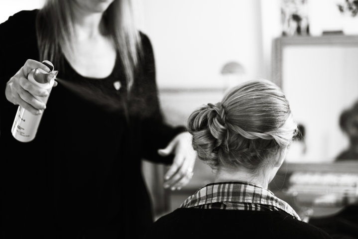Suffolk wedding hairdresser Karen, of Karen's Beautiful Brides, creating a brides hair style