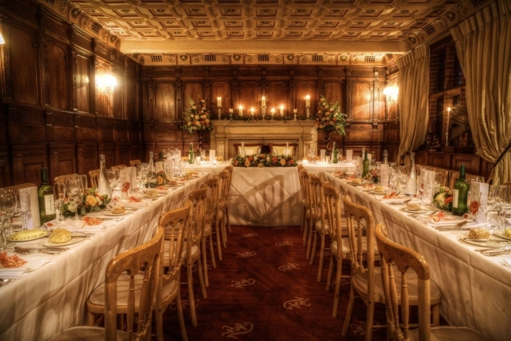 inside Suffolk wedding venue, Woodhall Manor by Karen's Beautiful Brides