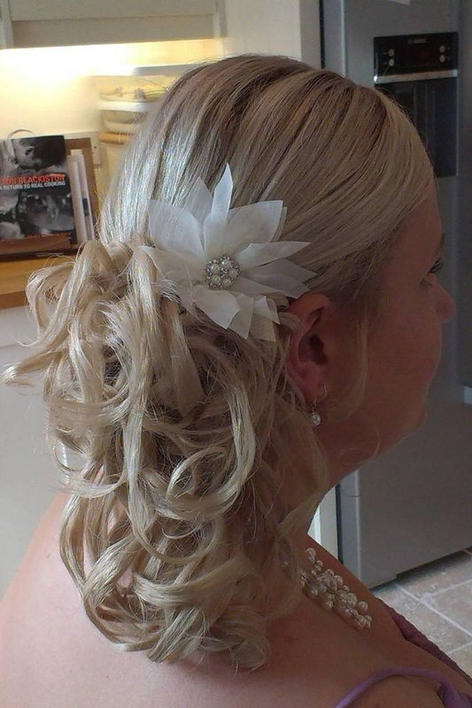 Wedding hair styled by Karens Beautiful Brides in Suffolk.