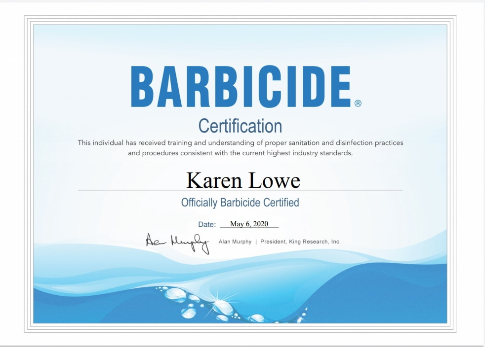 Karen Lowe of Karen's Beautiful Brides - Barbicide certificate for proper sanitation & disinfection practices & procedures