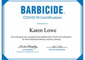 Karen Lowe of Karen's Beautiful Brides - Barbicide COVID-19 certificate for the professional beauty industry training
