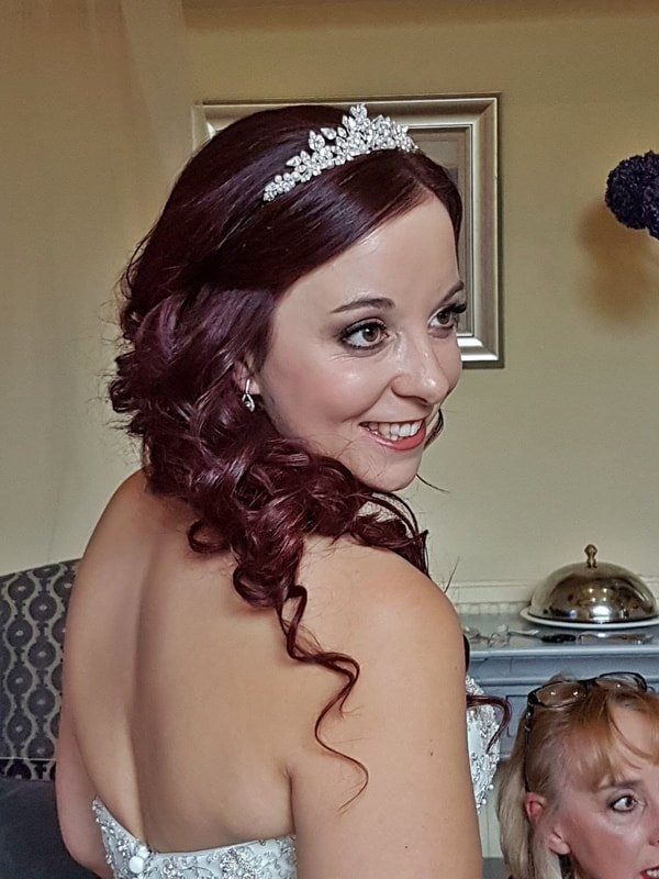 Sudbury & Hadleigh Suffolk Wedding Hairdresser hair down over shoulder