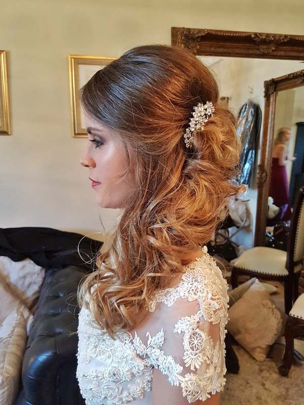 Sudbury & Hadleigh Suffolk Wedding Hairdresser hair down over one shoulder