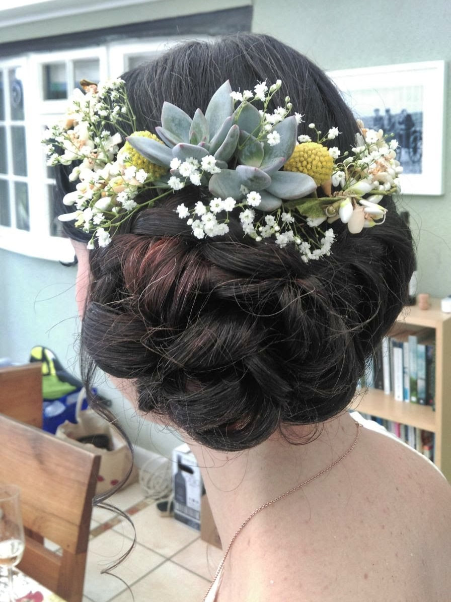 Karen's Beautiful Brides | Wedding Hair Stylist | Hair up with flowers | BoHo
