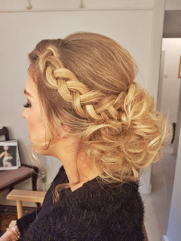 Karen's Beautiful Brides | BoHo messy bun with plait | Suffolk Wedding hairdresser