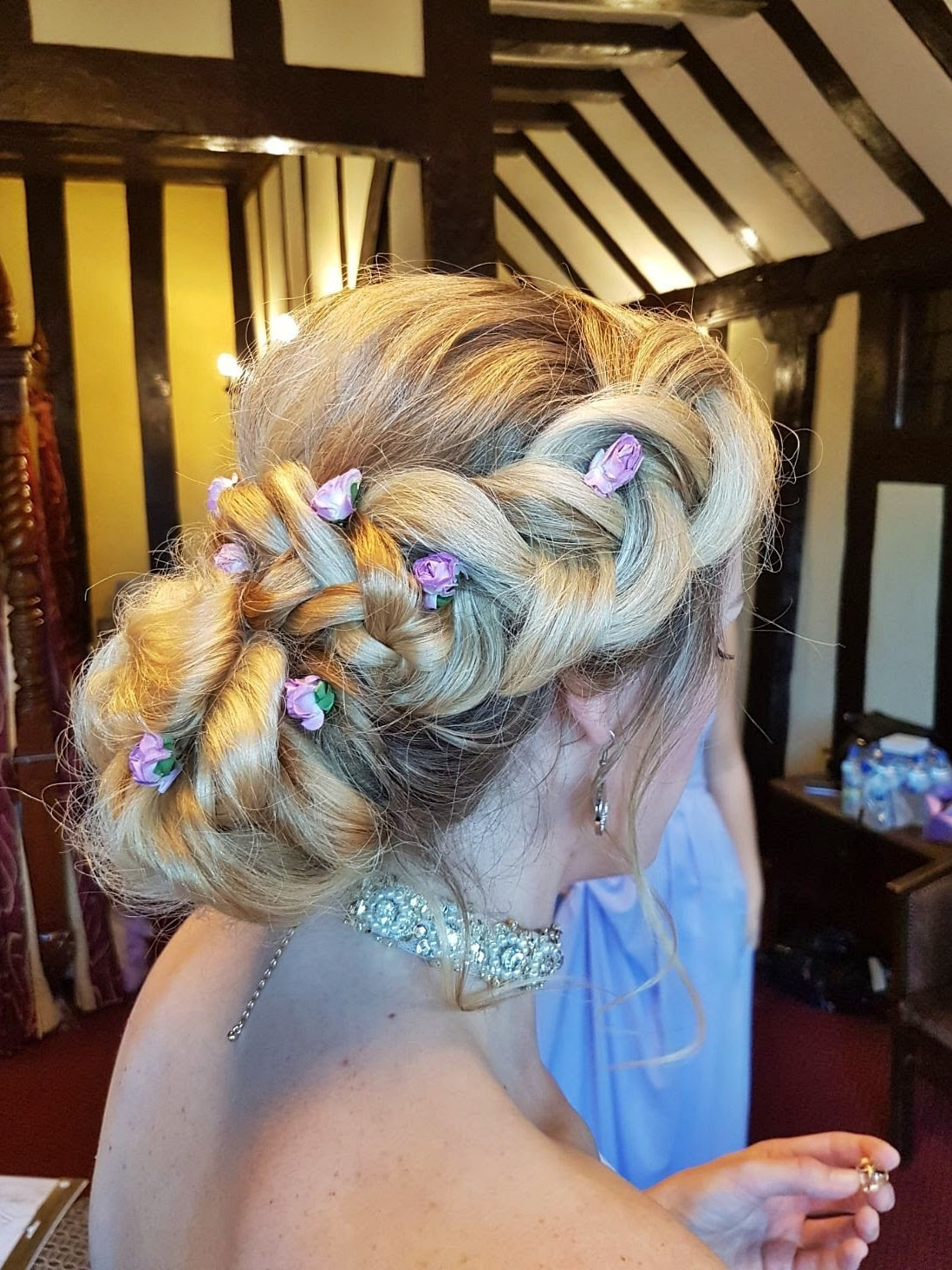 Karen's Beautiful Brides | BoHo hair up with plait | Suffolk Wedding hairdresser